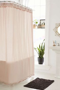 Urban Outfitters Magical Thinking Pompom Shower Curtain Found on my new favorite app Dote Shopping Pink Shower Curtains, Closet Curtains, Bathroom Shower Curtains, Rose Gold Shower Curtain, Blush Bathroom, Dorm Bathroom, Downstairs Bathroom, Feminine Bathroom, Bathroom Showers