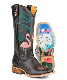 I would actually LOVE THESE! Tin Haul Black Flamingo Low-Top Leather Cowboy Boot | zulily