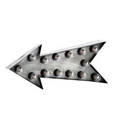 Pfeilförmige Wandleuchte im Industry-Stil DAKOTA aus Metall, B 64cm