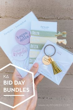 Spoil your new members this recruitment with the Pref Present bundle! Gift bag includes a sorority tassel keychain, hair tie set, and button set. Kappa Delta Gifts | Kappa Delta Bid Day | KD New Member Gifts | KD Rush Gift Bags | Kappa Delta Recruitment | Sorority Bid Day | Sorority Recruitment | Bid Day Bags | Sorority New Member Gift Ideas #BidDayGifts #SororityRecruitment