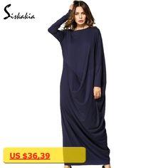 Siskakia long sleeve Maxi long Dress New Autumn 2017 Loose plus size Draped patchwork design Dubai UAE woman Gowns ladies tunics