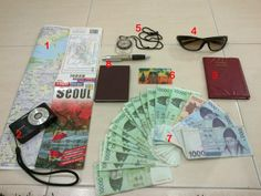 Travelling tips to Korea: Things you need to bring everywhere when u go sightseeing in Seoul. 1.SEOUL MAPS 2.CAMERA 3.PASSPORT 4.SUNGLASSES 5.COMPASS 6.T-MONEY CARD 7.KOREAN MONEY 8.SMALL NOTEBOOK & PEN