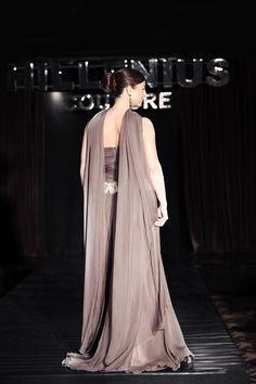 Hillenius Couture Taupe Chiffon Corset Evening Dress Fashion Jewelry