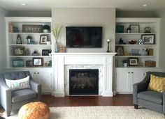 Build Built In Bookcase . Build Built In Bookcase . the Built Ins Restyled Fireplace Bookshelves, Fireplace Built Ins, Home Fireplace, Bookshelves Built In, Living Room With Fireplace, Fireplace Design, Home Living Room, Living Room Designs, Fireplace Ideas
