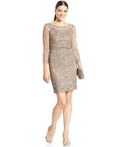 Pisarro Nights Illusion-Sleeve Embellished Sheath - Dresses - Women - Macy's