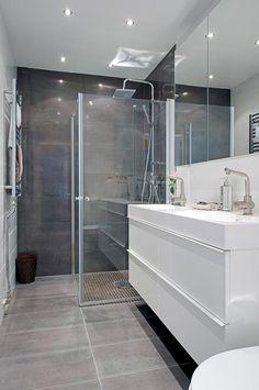 New Bath Room Tiles Shower Marble 22 Ideas Bathroom Glass Wall, Grey Bathroom Tiles, White Vanity Bathroom, Grey Tiles, Bathroom Colors, Bathroom Shelves, Big Bathrooms, Beautiful Bathrooms, Small Bathroom