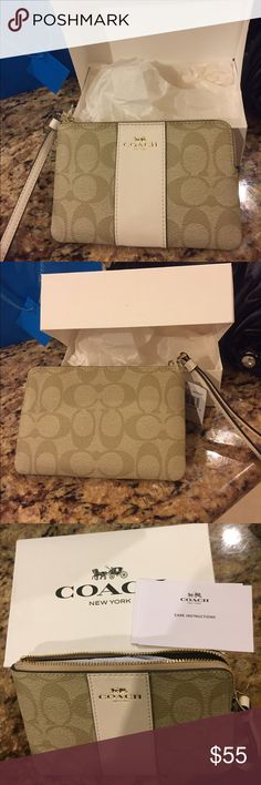 Coach signature small wristlet New with tag and box. Beige color. Can be used as a wallet as well. Coach Bags Clutches & Wristlets