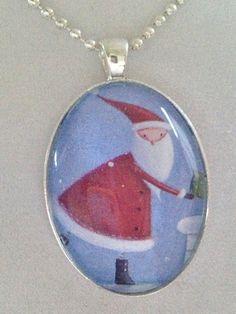 Santa Pendant Necklace by joytoyou41 on Etsy, $25.00