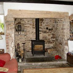 17th Century Inglenook Restoration - Feature Fire Inglenook Fireplace, Rustic Fireplaces, Home Fireplace, Fireplace Remodel, Fireplace Ideas, Wood Burner Stove, Modern Cottage, Cottage Interiors, Living Room Remodel