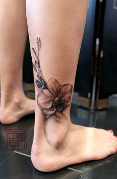 50 Eye-Catching Lion Tattoos That'll Make You Want To Get Inked - diy best tattoo ideas Ankle Tattoo Cover Up, Ankle Foot Tattoo, Flower Tattoo On Ankle, Foot Tattoos, Body Art Tattoos, Orchid Flower Tattoos, Cover Up Tattoos For Women, Ankle Tattoos For Women, Diy Tattoo