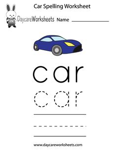 Learn and practice how to spell the word car using this printable preschool worksheet.
