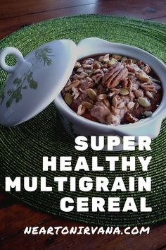 My Super Healthy Multigrain Hot Cereal is gluten free, vegetarian and packed with protein rich, good for you ingredients. Don't be put off by the long list of ingredients and don't feel compelled to buy everything to make this recipe. It's very flexible. Feel free to skip ingredients or substitute whatever you have on hand!