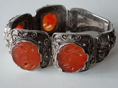 Vintage Chinese Silver filligree & Carnelian medallion Bracelet Superb NR #Chinesemakerhallmarked