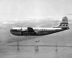 Boeing 377 Stratocruiser (1949-1963) was a large long-range airliner developed from the C-97 Stratofreighter military transport, a derivative of the B-29 Superfortress. The Stratocruiser's first flight was on July 8, 1947. Its design was advanced for its day, its innovative features included two passenger decks and a pressurized cabin, a relatively new feature on transport aircraft. https://en.wikipedia.org/wiki/Boeing_377_Stratocruiser