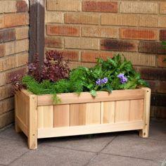 Simple raised garden box for outside the basement door? Planter Box Plans, Raised Planter Boxes, Cedar Planter Box, Garden Planter Boxes, Wood Planters, Outdoor Planters, Box Garden, Outdoor Decor, Flower Boxes