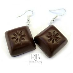 CHOCOLATE earrings  - Polymer clay FIMO jewelry. Charm earrings. Mini food jewelry. Polymer clay sweets, Cute jewelry.