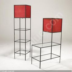 FREDERICK WEINBERG Floor lamp and lamp table, each in black enameled metal with glass shelves and red paper shades. 61 x 14 sq. and x 28 x 14