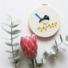 This gorgeous little blue wren design by featured maker, Hooray Hoop, is available as a DIY embroidery kit, including everything you need to make your very own masterpiece! ~*~ #makersmovement #handmadeau #handmademovement #handmadeisbetter #makersvillage #makersgonnamake #embroidery #craftkits #diy #embroiderykit #modernembroidery #craftlife #handmadelifeau #embroideryart #embroiderydesign #embroiderytutorials #embroiderypatterns #embroideryworkshops Diy Embroidery Art, Embroidery Thread, Embroidery Patterns, Stitch Witchery, Wooden Hoop, Simple Pictures, Wren, Diy Kits, Home Gifts