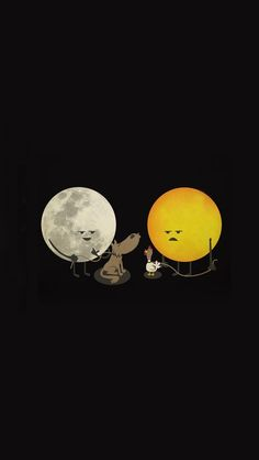 moon is better thanthe sun by ndikol on DeviantArt Funny Iphone Wallpaper, Funny Wallpapers, Cartoon Wallpaper, Iphone Wallpapers, Cute Puns, Funny Puns, Funny Art, Funny Doodles, Funny Illustration