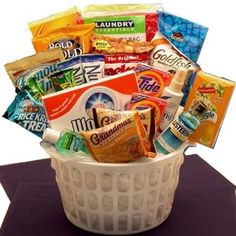 Away From Home Snacks and Essentials Care Package in Mini Laundry Gift Basket: Graduation Gift
