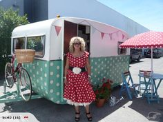 How darling is this? I have a skirt to match the camper! Love the bike rack too! Thank you Sharon!