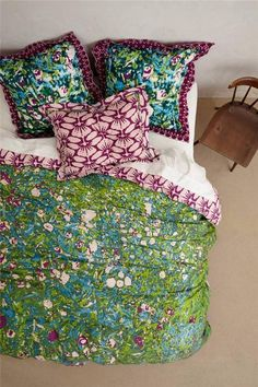 Anthropologie Rosemoor Duvet Cover Sz King Size New Green Floral Tracy Reese #Anthropologie