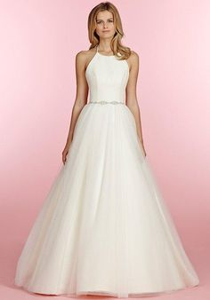 Ivory tulle ball gown, chiffon ballet bodice with jeweled halter strap beaded belt at natural waist and full tulle skirt | Blush by Hayley Paige | https://www.theknot.com/fashion/1509holland-blush-by-hayley-paige-wedding-dress