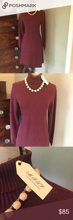 💖 NWT MSSP Magalie Bordeaux Sweater Dress M New with tags Heathered Bordeaux color. M.S.S.P Dresses