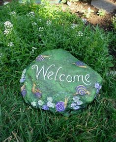 QUICK TO WELCOME  fun painted rock  Greeting door MyGardenRocks