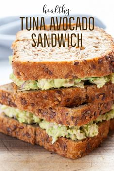 Up your tuna salad game by swapping out the mayo for a healthier fat, avocado, and some Mexican flavours like cilantro lime. Delicious on whole wheat bread as a sandwich, or in lettuce wraps for a low carb meal. Clean Eating Recipes, Raw Food Recipes, Seafood Recipes, Cooking Recipes, Healthy Recipes, Freezer Recipes, Avocado Recipes, Burger Recipes, Drink Recipes