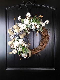 Excited to share this item from my shop: Fall Cotton Wreath, Farmhouse Cot.