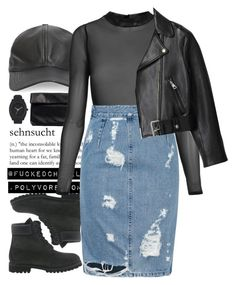 """""""Denim skirt"""" by fuckedchanel ❤ liked on Polyvore featuring Nelly, Timberland, Nixon, Topshop, Acne Studios, converse and allstar"""