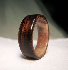 Wood Ring Lined With Deer Antler by Endeavours on Etsy