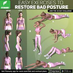 exercises to restore bad posture Restore bad posture with these exercises from Fitonomy app.Restore bad posture with these exercises from Fitonomy app. Fitness Workouts, 30 Day Fitness, Sport Fitness, Easy Workouts, Yoga Fitness, At Home Workouts, Fitness Motivation, Fitness App, Physical Fitness