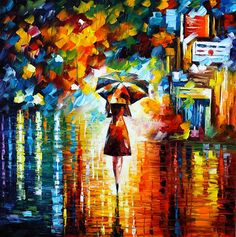 Available at Red Bubble is this art print by Leonid Afremov titled rain princess - Leonid Afremov.