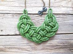 Green Rope necklace Sailor knot necklace por NasuKka en Etsy