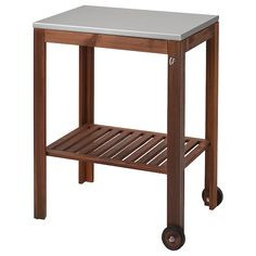 ÄPPLARÖ / KLASEN Charcoal grill with cart & cabinet - brown stained, stainless steel color - IKEA Wood Supply, Ikea Applaro, Steel Shelf, Staining Wood, Outdoor Shelves, Furniture, Serving Cart, Ikea, Wall Paneling