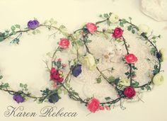 White, Pink, purple Flower Crown, bridal hair acessories, wedding headpiece, bridal hair flower, rustic wedding on Etsy, $22.0 FOR THE FLOWER GIRL