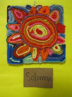 Huichol yarn art for kids.  Cool idea for an international craft!