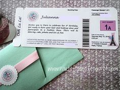 Items similar to Boarding Pass invitation Paris Ooh La La Pink Poodle Girl Birthday Party Sweet 16 Quinceanera Baby shower Eiffel Tower PartyTales on Etsy Paris Invitations, Birthday Invitations, Paris Birthday, Girl Birthday, Birthday Ideas, 13th Birthday, Paris Baby Shower, Boarding Pass Invitation, Printable Invitation Templates