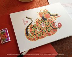 Dragon Chinese New Year Card  Chinese by stillwaterartstudio, $3.70
