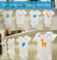 Virtual Baby Shower: DIY Baby Animal Graphic Onesies