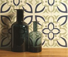 Bold and floral Renaissance tiles from the Odyssey collection by Original Style. Shown here in Dublin, Khaki and Dark Blue on White.
