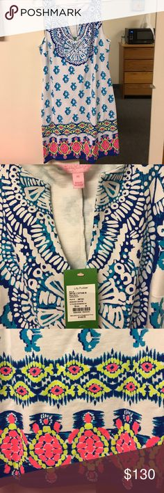 Lilly Pulitzer Harper Shift Dress NWT. Resort white to the sea print. Very comfortable and stylish dress. Size medium. Lilly Pulitzer Dresses Mini