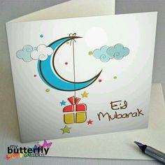 Islamic art prints, wall Art, decor and greeting cards by MyButterflyGallery Eid Mubarak Gift, Eid Mubarak Greeting Cards, Eid Mubarak Greetings, Happy Eid Mubarak, Eid Gift, Ramadan Mubarak, Diy Eid Cards, Ramadan Cards, Fest Des Fastenbrechens