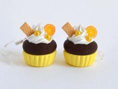 Kawaii Yellow Cupcake Polymer Clay Earrings by Ashito on Etsy, $10.00