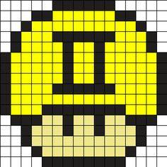 Zodiac Gemini Mushroom Perler Bead Pattern