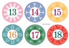 Adventskalender basteln - bunte Zahlen zum kostenlosen Ausdrucken