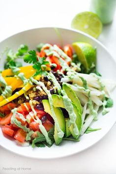 Burrito Bowl with Creamy (Vegan) Cilantro Sauce Vegan Burrito Bowl - loaded up with healthy veggies, rice and beans and a flavorful Creamy Vegan Cilantro Sauce! So easy and healthy! Veggie Bowl Recipe, Veggie Recipes, Mexican Food Recipes, Whole Food Recipes, Vegetarian Recipes, Healthy Recipes, Vegan Vegetarian, Snack Recipes, Vegan Burrito Bowls