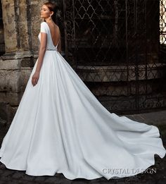 crystal design bridal 2016 short sleeves bateau neckline elegant chic simple a line ball gown wedding dress open back chapel train (roma) bv